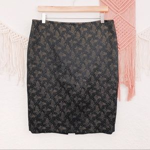 St. John Silk Gold Metallic Floral Pencil Skirt